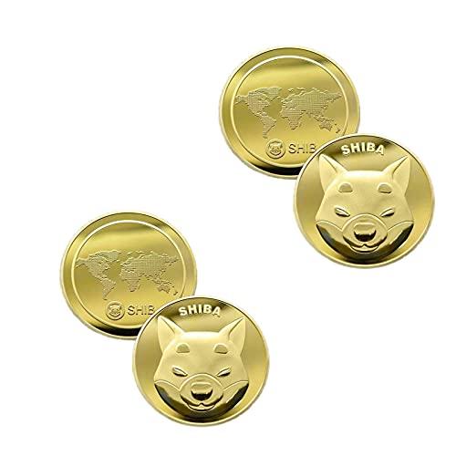 WENLIANG Moneda De 2 Piezas Shiba Shib Token, Moneda De Oro De Shiba Shib, Moneda De Plata De Shiba Shib, Moneda De Akita, Moneda De Shiba Inu, Moneda De Recuerdo Chapada En Oro (Gold2pcs)