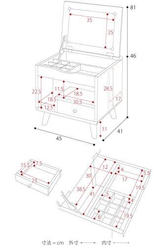 JKプランPicoシリーズドレッサー鏡一面ミラー付き一人暮らしメイク台コンパクト収納おしゃれ北欧ナチュラルFAP-0012-NA