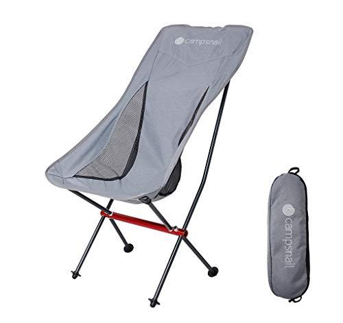 Campsnail アウトドア チェア キャンプ 椅子 イス 折りたたみ 耐荷重150kg 超軽量 ローチェア ハイバック コンパクト 7075航空アルミ合金 収納袋付属 釣り ソロキャンプ ハイキング (スタイル A グレー)