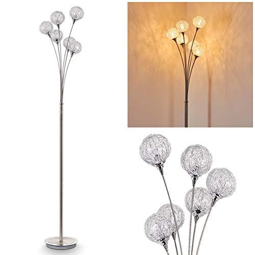 Staande lamp Kitee, moderne vloerlamp van metaal in chroom/nikkelmat, lampkoppen van gevlochten draad, 6 lampen, 6 x G9-fitting, max. 28 watt, met schakelaar op de behuizing, geschikt voor LED-lampen
