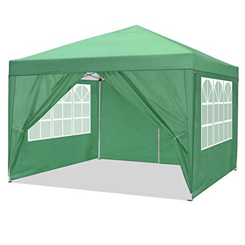 Cobizi Gazebo da Giardino 3x3 m Pieghevole Tendone Gazebo con 4 Pareti Laterali | Protezione UV 50+ | Telaio Telescopico in Acciaio | Tenda Giardino Gazebo per Feste, Campeggio, Spiaggia (Verde)