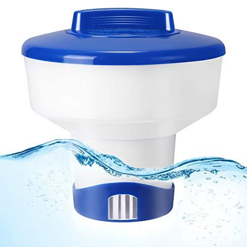 Gafild Dosificador Cloro Piscina, 7 Inches Dispensador Flotante de Cloro, Ajustable Cloro Flotante para Piscina, Flotante Dispensador para Piscinas, SPA, Parque Acuático