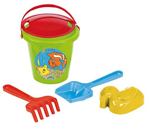 Lena 5473 Happy Sand, Eimergarnitur 5 teilig, Sandspielzeug Set für Kinder ab 2 Jahre, Spielset mit Sandeimer, Sieb, Sandförmchen Ente, Sandschaufel und Rechen aus Kunststoff, Mehrfarbig