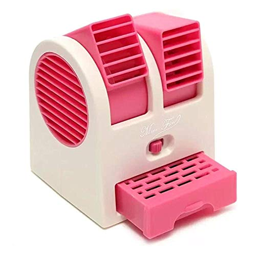 Portable Desktop Dual Bladeless Air Conditioner USB Cooler Fan Mini USB Cooler Portable Desk Table Fan for Office Home USB Electric Air Conditioning With Adjustable Dual Air Outl