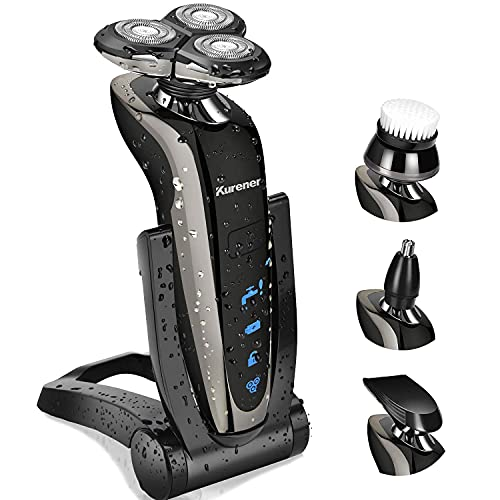 Kurener Electric Shaver Razor for Men Rechargeable 100% Waterproof Rotary for Shaving with Nose...
