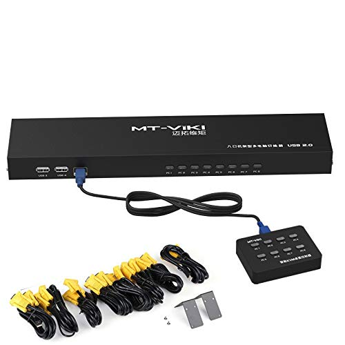 HD 8 Port Smart KVM Switch Manual Key Press VGA USB Wired...