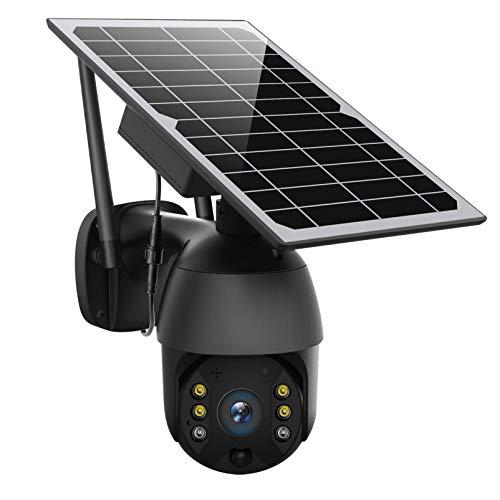 Cámara inalámbrica 4G/WIFI, con batería solar PTZ, cámara de seguridad IP con detección de movimiento de vídeo 1080P, cámara domo de visión nocturna de color con panel solar(4G, Black)