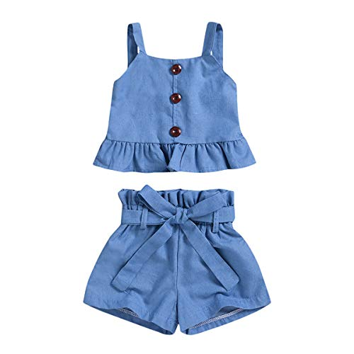 Toddler Baby Girls Clothing Outfits Long Sleeve Ruffle Shirts+Floral Pants+Headband Clothes Set (4-5T, BlueDK)