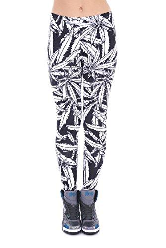 Hanessa Frauen Leggins Schwarz Weiß Bedruckte Leggings Geschenk zu Weihnachten Hose Frühling Sommer Kleidung Weed L16