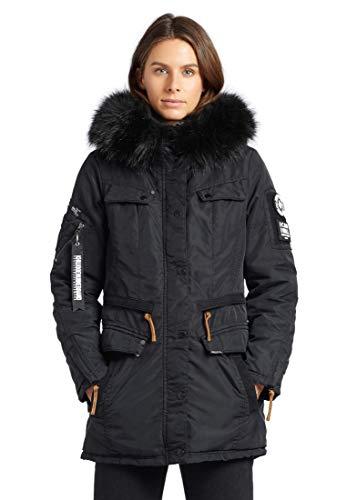 khujo Damen Jacke Vicenza mit abnehmbarem Kunstfell Parka mit vielen Taschen Winterjacke