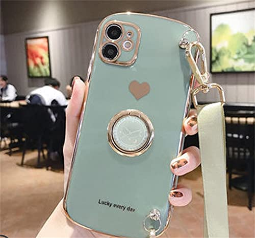 Silica Gel Phone Case Cell Phone Case With Lanyard Creative Clock Ring Stand Tempered Film Crossbody Anti Drop Soft Silicone Shell for Iphone 11 Iphone 12 Pro Pro Max Matcha for iphone11