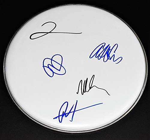 The Foo Fighters Group Signed - Autographed Drumhead by Dave Grohl, Nate Mendel, Taylor Hawkins, Pat Smear, and Chris Shiflett Drum head - Complete Band RARE