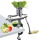 Happybuy Wheatgrass Extractor Portable, Manual Juicer with 3 Sieves, for Green Vegetable Fruit Leafy Squeezer, 304 Stainless Steel, Silver