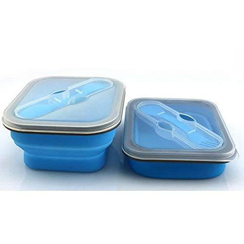 Rifuli Separate Lunchbox Babynahrung AufbewahrungEinzelne Faltbare Silikon-Aufbewahrungsbox im Freien Mikrowelle-Lunchbox Blue Model Box Auslaufsichere Brotzeitbox
