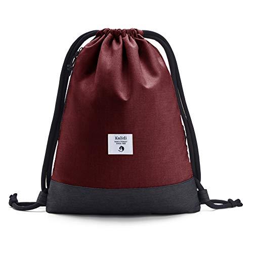 KALIDI Beutel Rucksack Turnbeutel Sportbeutel Gymsack Gym Bag für Damen & Herren mit Innentasche und Reißverschluß-Sicherheitstasche für Sport, Reisen und City