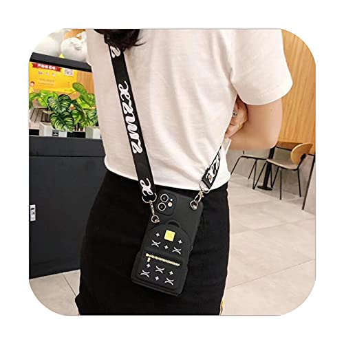Para Mate 40 10 20 20x 30 Carcasas 3D linda cartera DIY Lanyard teléfono caso para Huawei P40 Lite E P30 P20 pro P10 Plus Soft Bags Cover-Negro-P10