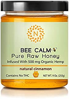 Bee Calm - 100 % Natural Unfiltered Honey! 9 oz Glass Jar of Raw honey infused with 500 mg Organic Hemp. Helps with Pain R...