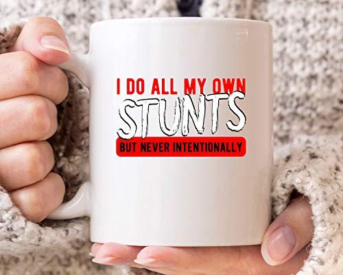 "Taza de café con texto en inglés ""I Do My All Own Stunts"", regalo para motos de cross y Cross Rider divertida para papás, regalo de motocicleta, 325 ml, taza de café de cerámica"