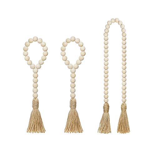 YCDC 3 Pcs Wood Bead Garland with Jute Tassels, Natural Rustic Beads and Tassels, Farmhouse Decor Prayer Boho for Christmas Tree Decoration Wall Hanging Home Decor