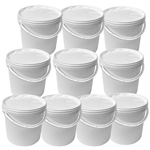 Lotto di 10 secchi plástico 10 L container qualità alimentare con coperchio e manico (10x22051)
