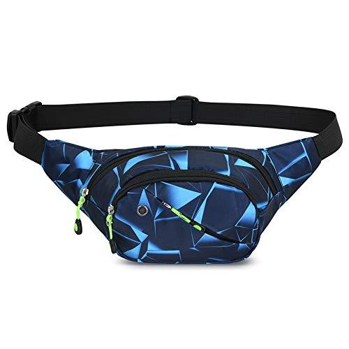 GUSTAVE® Waist Bag,Fitness Waist Bag for Men ,Outdoor Sports Fashion Waist Bag (Geometric Blue)