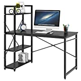 Dripex [Christmas Deal] Steel Frame Wooden Home Office Table with 4 Tier DIY Storage Shelves - Computer PC Laptop Desk Study Table Workstation for Home Office Dark Black