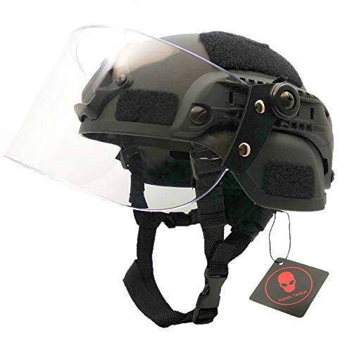 Airsoft Tactical MICH 2000 Military Paintball SWAT Polizei Helm mit klarem Riot Visier Face Shield Gleitbrille & Seitenschiene NVG Mount Schwarz