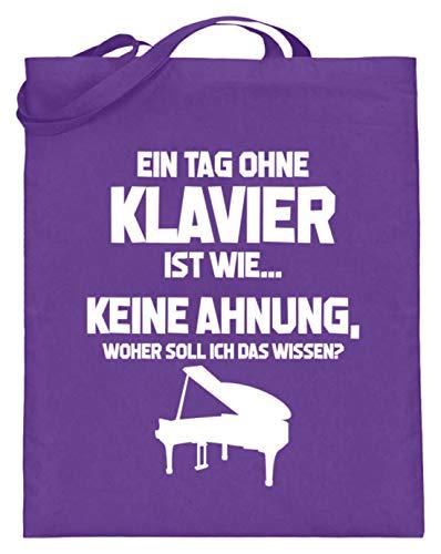 shirt-o-magic Pianist: Tag ohne Klavier? Unmöglich! - Jutebeutel (mit langen Henkeln) -38cm-42cm-Violett