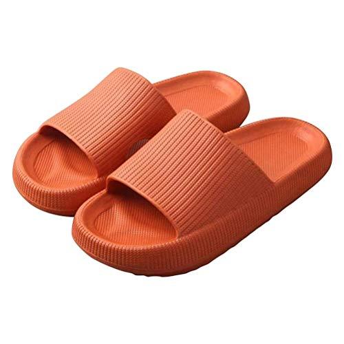 PUZOU Pantufas de massagem, chinelos, chinelos de espuma vinílica acetinada, sola grossa antiderrapante, chinelos macios para casa