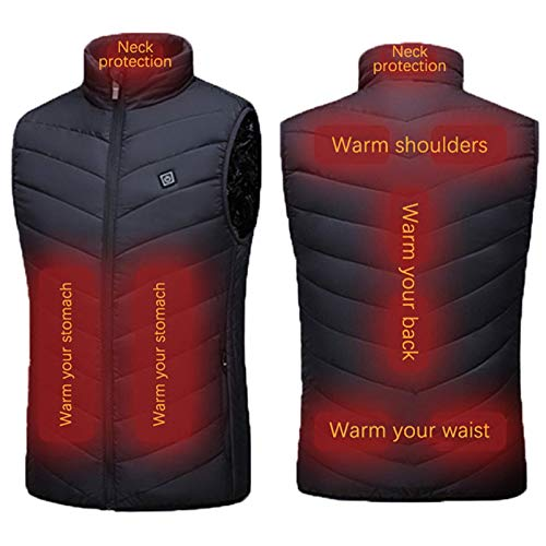 Men's Outdoor Heated Vest, Warm Black Zipper USB Electric Heating Jacket for Outdoor Fishing Hunting Travel Skiing, 9 Heating Panels, Battery Not Included, Plus Size (Black-9 Heating Panels, 4XL)