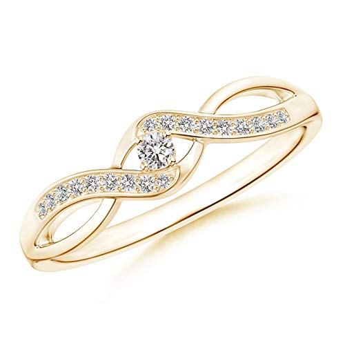 Black Friday Gift - Solitaire Round Diamond Infinity Promise Ring in 9K Yellow Gold (2.1mm Diamond)
