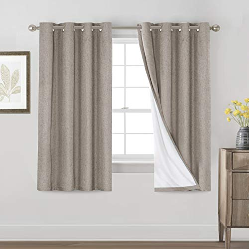 Primitive Textured Linen 100% Blackout Curtains for Bedroom/Living Room Energy Saving Window Treatment Curtain Drapes, Burlap Fabric with White Thermal Insulated Liner (52 x 63 Inch, Taupe)
