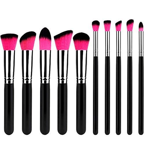 Gespout 10pcs Set de Pinceaux de Maquillage Brosse de Maquillage Professionnel Fondation Concealer Eye Shadow Beauté Outils Poignée Noire à Poils Rouges