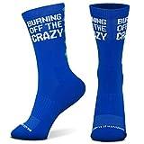 Inspirational Athletic Running Socks | Mid-Calf | Burn Off The Crazy | Light Blue