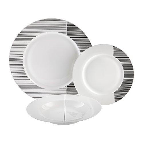Dajar Vajilla moderna de 18 piezas, de porcelana, color blanco y negro, 48 x 30 x 31 cm, unidades