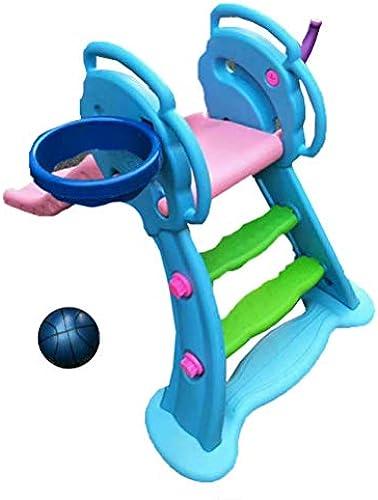 Mhxzkhl Baby Folding Slide, Kinder Kunststoff Spielzeug Basketball Indoor Outdoor Slide Garten Spielplatz, Pedal Set Und Wave Slide 1,31 M, Geeignet Für 0-6 Jahre Altes Baby,Blau