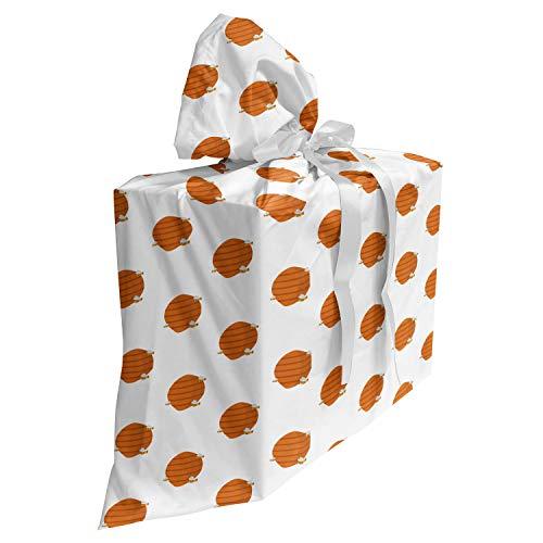 ABAKUHAUS Honingraat Cadeautas voor Baby Shower Feestje, Bijenkorven Cartoon Stijl, Herbruikbare Stoffen Tas met 3 Linten, 70 cm x 80 cm, Oranje Aarde Geel