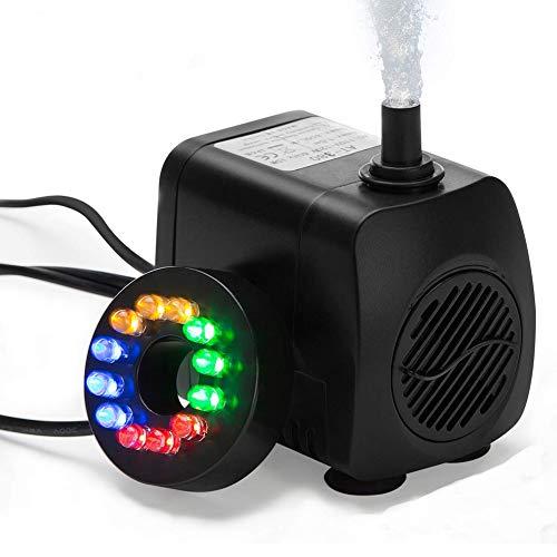 HOTSO Mini Pompa Acqua Sommergibile con 12 Luce di Colore LED 10W Ultra-Silenzioso 600L/ H Pompa Fontana Acquario per Terrari, Serbatoio di Pesci, Sistemi di Circolazione, Laghetto