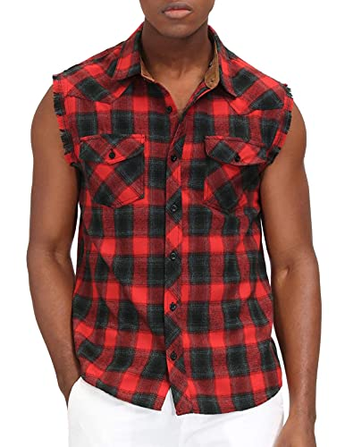 Men's Fashion Casual Plaid Vest Shirt Sleeveless Button Down Sport Shirt M Red