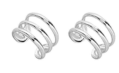 925 Sterling Silver Three (3) Band No Pierce Ear Cuff Wrap Earrings, Set of Two (2), 9 x 6mm