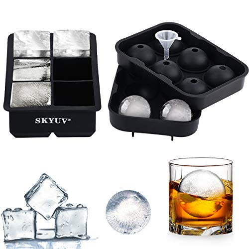 SKYUV Ice Cube Trays (Set of 2) Black Silicone 6 Giant Ice Ball Cube Maker for Ice Make