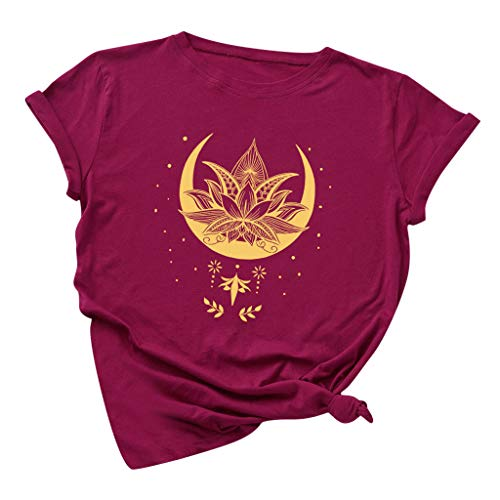Meditation Shirts for Women Plus Size Lotus Flower and Moon Graphic Tees Funny Zen Buddha Yoga Peace T-Shirt Faith Tops