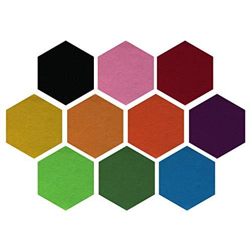 LERT 10 Stück DIY Pinnwand Korkwand Selbstklebend Korkplatte Sechseckige Filz Memoboards Wand Memo/Fotohängen/Dekoration/Schule/Büro