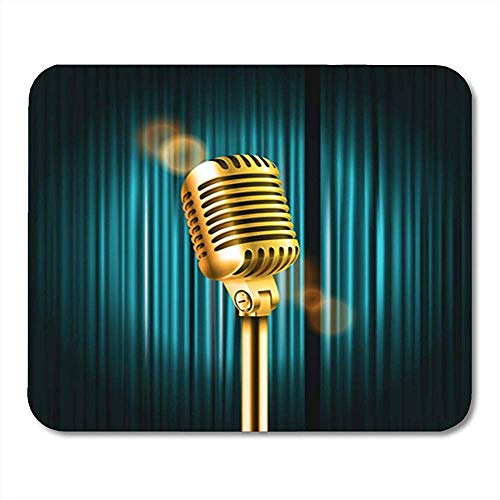 Gaming Mausepad,Pad Maus Unterlage,30X25Cm,Gummiunterseite Mausmatte,Retro Bühnenvorhänge Shining Microphone Standup Comedy Show Wohnung Bürobedarf, Non-Lip Rubber Mousepad