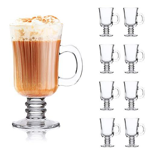 QAPPDA Kaffeetasse, 227 ml, mit Griff, klare Tassen mit Griff, Glastasse Teetasse für Bier, Saft, Getränke, hohe Basis, Latte-Tassen, Cappuccinotassen, irische Kaffeetassen, 8er-Set KTZB22