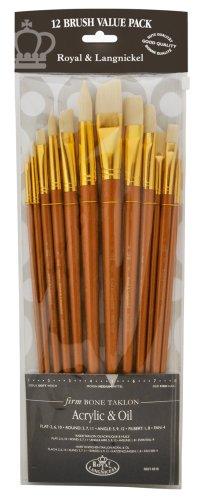 Royal and Langnickel RSET-9318 - Set di 12 pennelli Firm Bone con setole in taklon, con manico lungo
