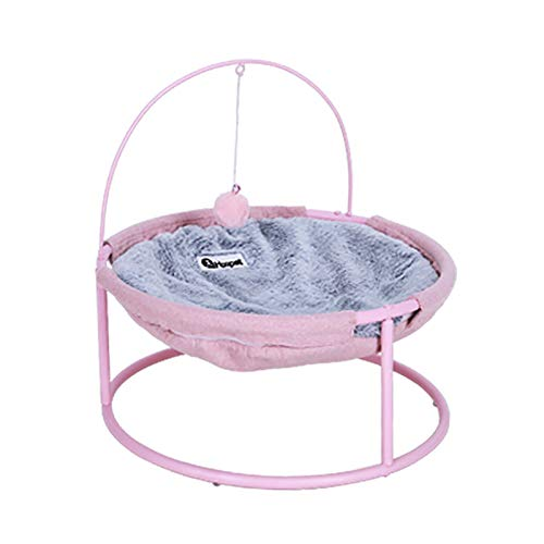 zyc Hamaca de gato plegable para actividades interactivas con bolas colgantes de catnip para salón interior y sillón reclinable (rosa)