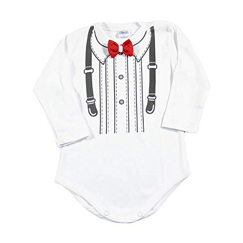 Lollipop Body de manga larga para bebé, color blanco, con pajarita, para bodas, bautizos, cumpleaños, regalo de recién nacido, hecho a mano en la UE Pajarita roja 6 mes