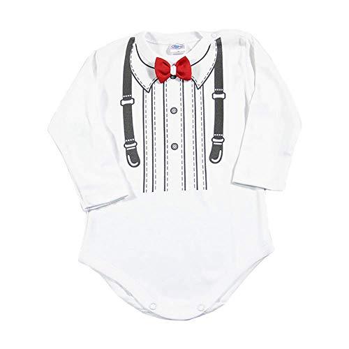 Lollipop Body de manga larga para bebé, color blanco, con pajarita, para bodas, bautizos, cumpleaños, regalo de recién nacido, hecho a mano en la UE Pajarita roja 3 mes