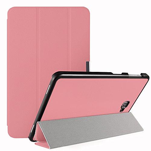 Simpeak Funda Compatible con Samsung Galaxy Tab A 10.1 (SM-T580 / T585), Carcasa Compatible con Tab A 10.1 Case Multi-Angulo Cubierta Folio con el Soporte Reposo Automatico de Despertador,Rosa